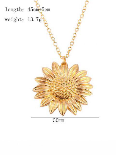 Geschnitzte Sonnenblume Anhänger Halskette - Golden  Mobile