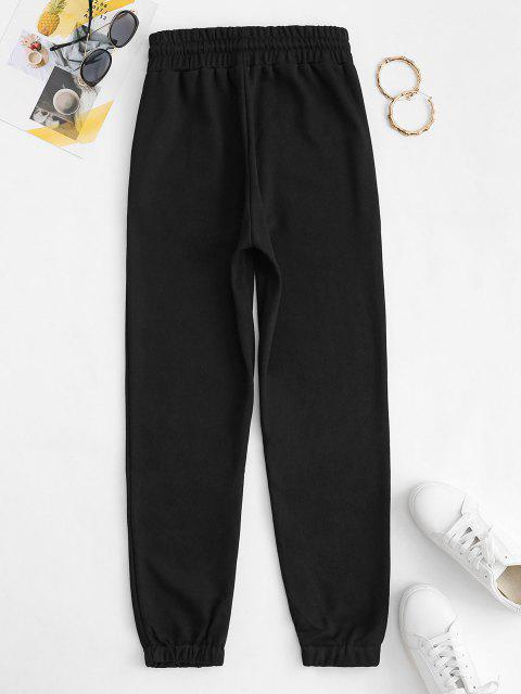 best Drawstring French Terry Sweatpants - BLACK L Mobile