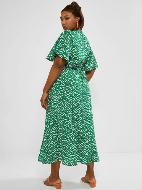 online Plus Size Ditsy Print Butterfly Sleeve Maxi Wrap Dress - GREEN 4XL Mobile