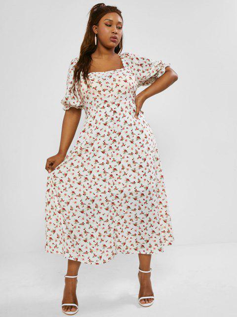 Maxi Vestido Floral de Bata con Abertura Trasera de Talla Extra - Blanco L Mobile