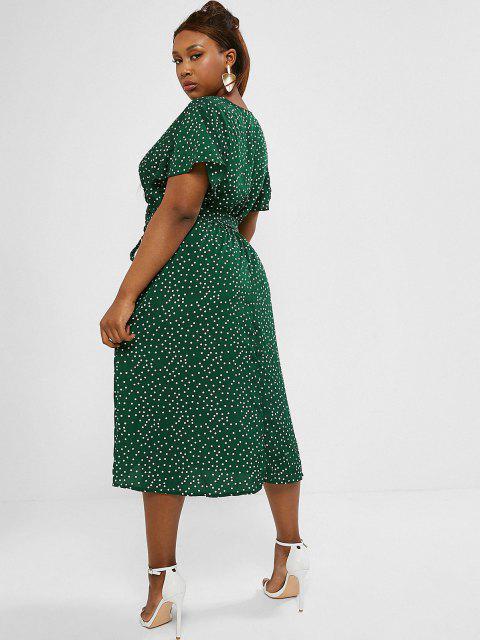 fashion Plus Size Polka Dot Belted Midi Surplice Dress - DEEP GREEN 1XL Mobile