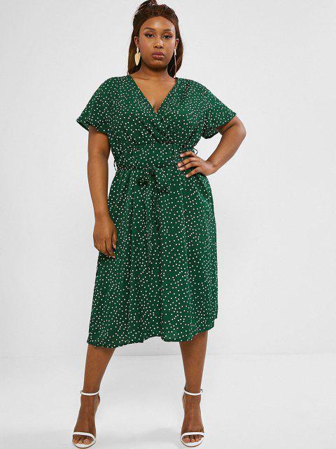 fancy Plus Size Polka Dot Belted Midi Surplice Dress - DEEP GREEN 3XL Mobile