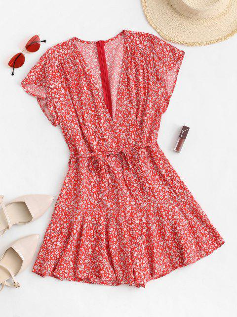 women Ditsy Floral Cap Sleeve Belted Romper - RED M Mobile