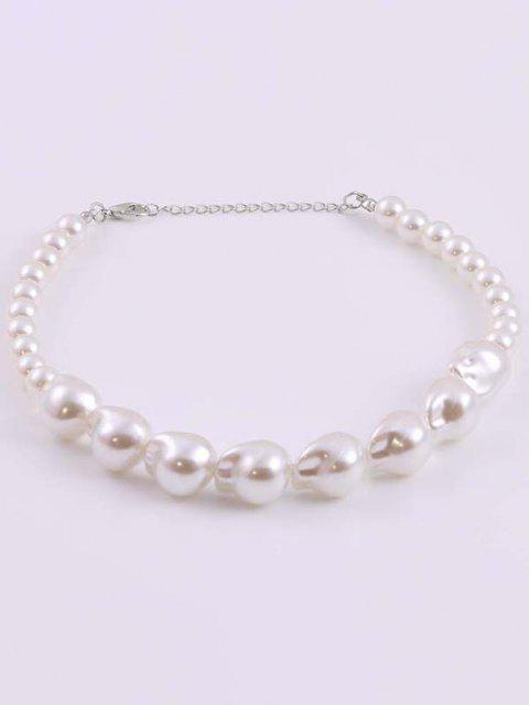 buy Irregular Faux Pearl Choker Necklace - WHITE  Mobile
