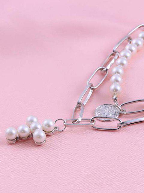 Kreuz Münze Künstliche Perle Geschichteten Halskette - Silber  Mobile