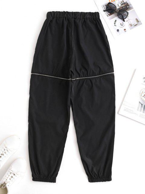 sale Slant Pockets Zippered Windbreaker Pants - BLACK M Mobile