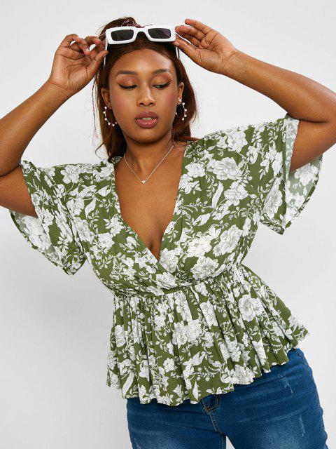 ZAFUL Blusa de Peplum en Talla Extra con Estampado de Flores y Mariposas - Verde Oscuro XL Mobile