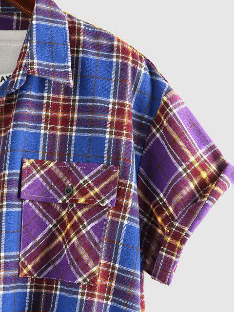 ZAFUL Kontrast Karierter Druck Doppelte Taschen Hemd - Multi XL Mobile