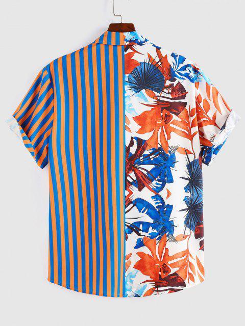 ZAFUL Blätter Streifendruck Fallschulter Hemd - Multi M Mobile