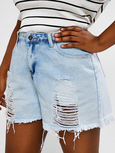 Plus Size Distressed Light Wash Cuff Off Denim Shorts - Light Blue 1xl