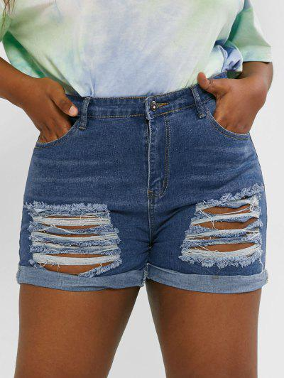 Plus Size Ripped Cuffed Jean Shorts - Deep Blue L