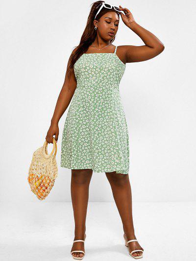 Zaful Plus 크기 Ditsy 꽃 무늬 라인 Sundress를 인쇄합니다 - 연한 초록색 5xl