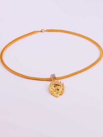 Diamante Crown Lion Head Necklace - Golden