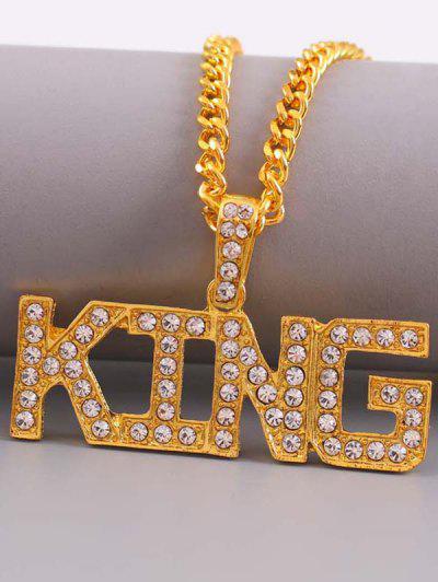 Rhinestone Letters Hip Hop Necklace - Golden