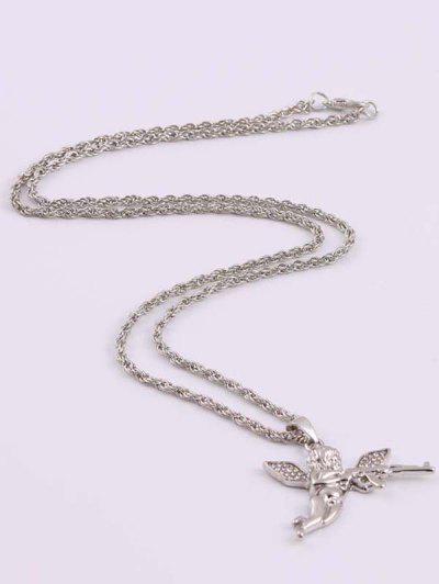 Rhinestone Angel With Gun Hip Hop Necklace - Silver