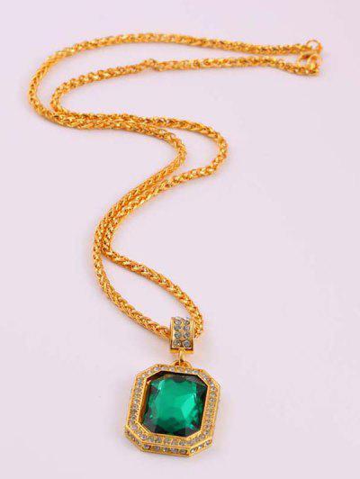 Geometric Faux Gemstone Pendant Necklace - Deep Green