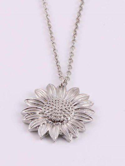 Geschnitzte Sonnenblume Anhänger Halskette - Silber