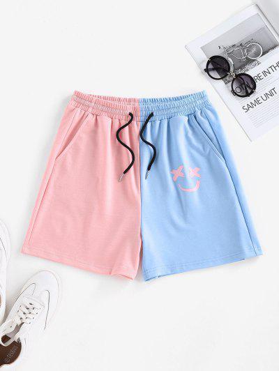 ZAFUL Colorblock Smile Print Drawstring Sweat Shorts - Light Blue S