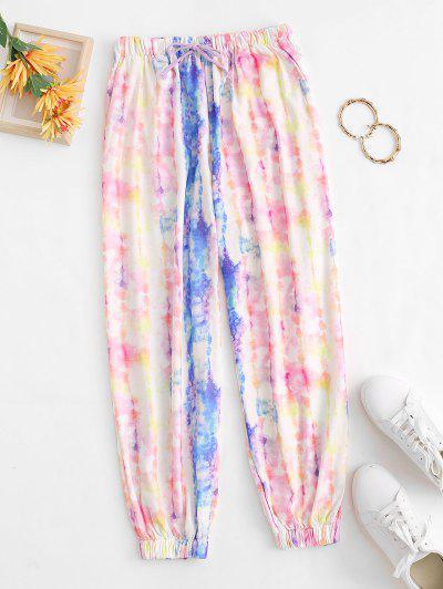 Pantalones Jogger De Tie Dye Con Cordón Y Bolsillos - Multicolor L