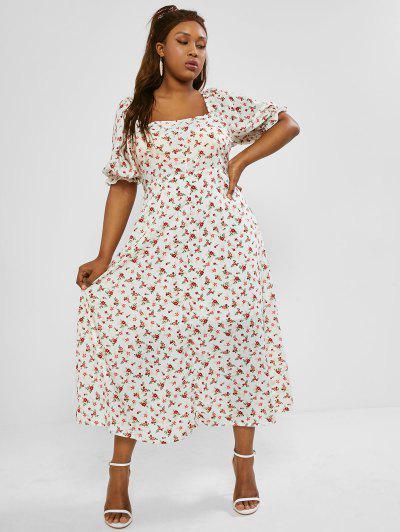 Plus Size Floral Smocked Back Slit Maxi Nap Dress - White 2xl