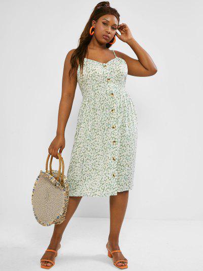 Plus Size Ditsy Floral Print Button Down Cami Dress - Light Green 3xl