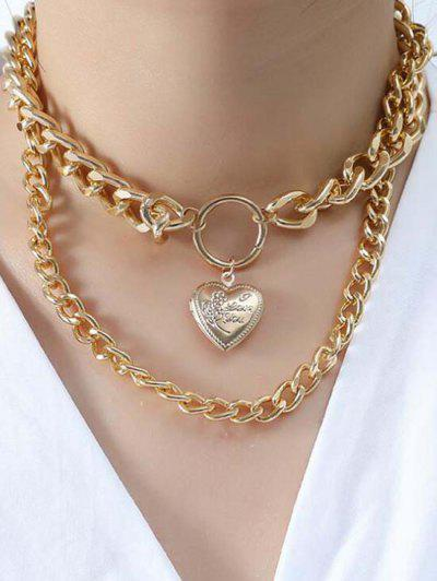 Engraved Heart Locket Layered Necklace - Golden
