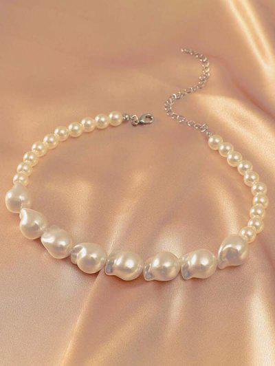 Irregular Faux Pearl Choker Necklace - White