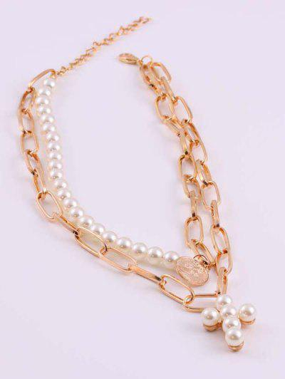 Cross Coin Faux Pearl Layered Necklace - Golden