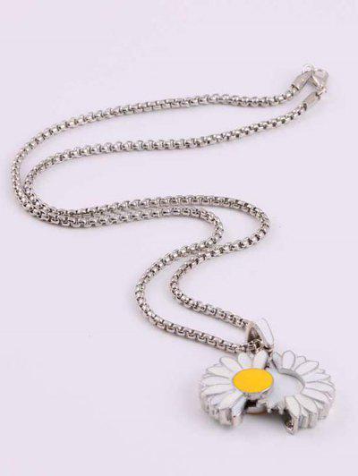 Glazed Daisy Opening Pendant Necklace - Silver
