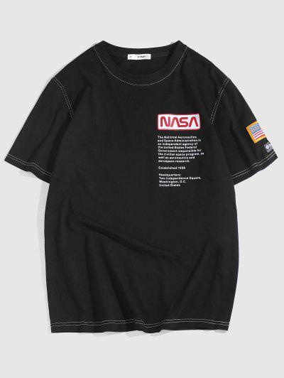ZAFUL American Flag Embroidered Text Print T-shirt - Black L