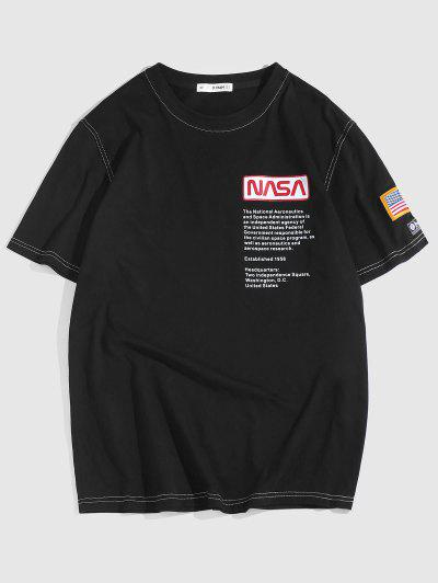 ZAFUL Besticktes T-Shirt Mit Amerikanischer Flagge - Schwarz Xl