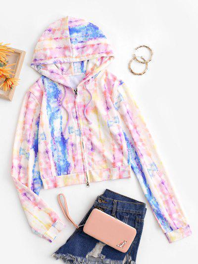 Tie Dye Zip Up Short Hoodie - Multi L