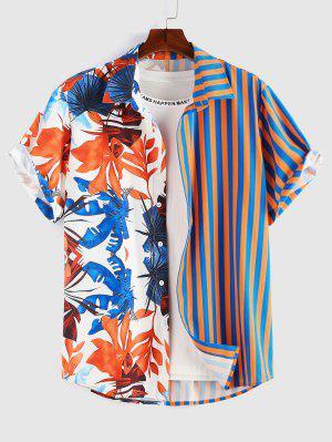 zaful ZAFUL Leaves Stripes Print Button Up Shirt