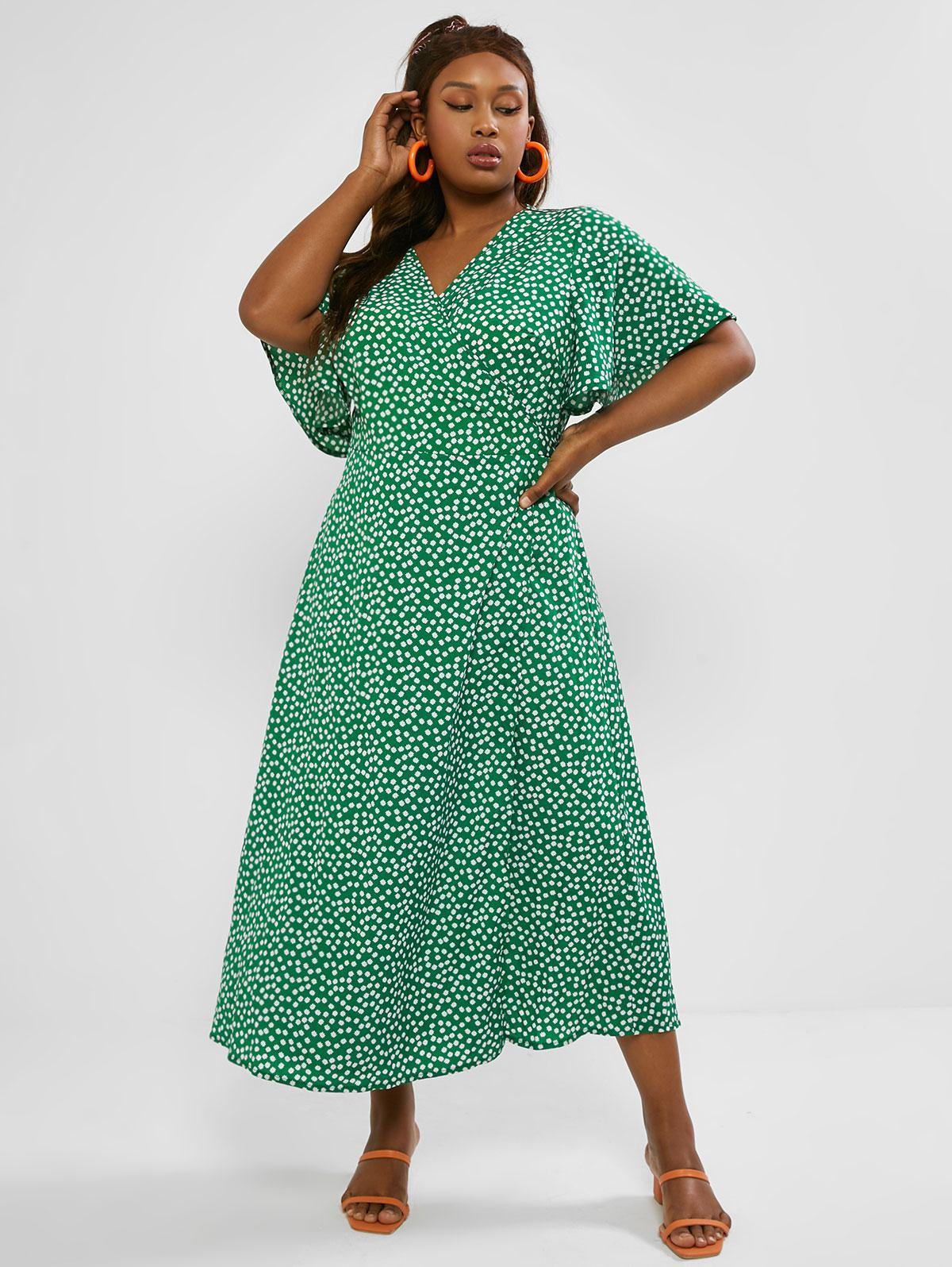 Plus Size Ditsy Print Butterfly Sleeve Maxi Wrap Dress