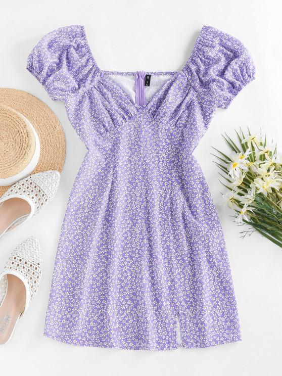 women ZAFUL Ditsy Print Puff Sleeve Slit Mini Dress - LIGHT PURPLE M