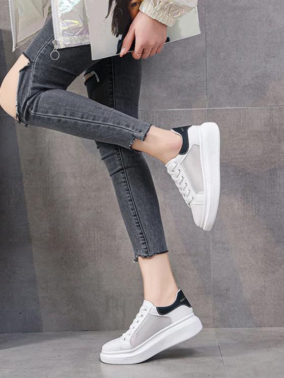 online Mesh Insert Lace Up Sneakers - BLACK EU 37