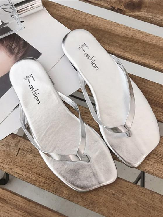 ladies Minimalist Solid Flat Flip Flops - PLATINUM EU 40