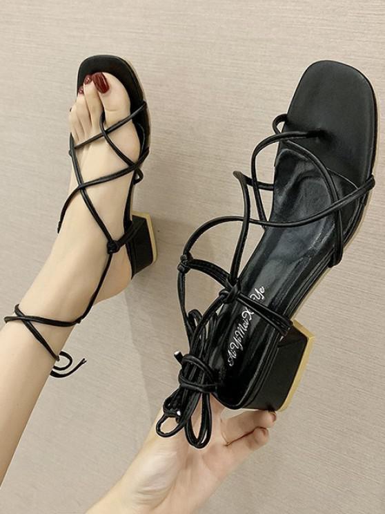 lady Criss Cross Strappy Chunky Heel Sandals - BLACK EU 37