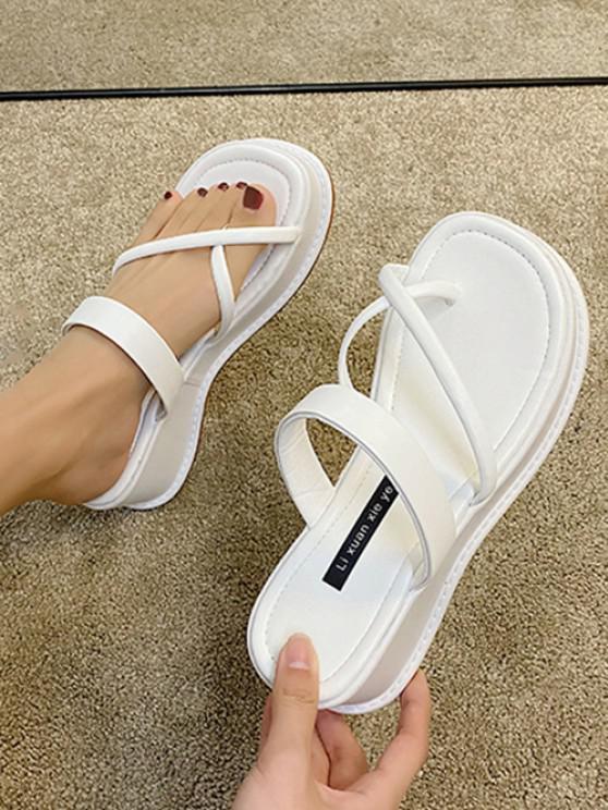 affordable Cross Toe Ring Platform Slides Sandals - WHITE EU 39