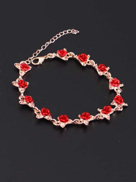 best Red Rose Charm Plated Adjustable Bracelet - ROSE GOLD