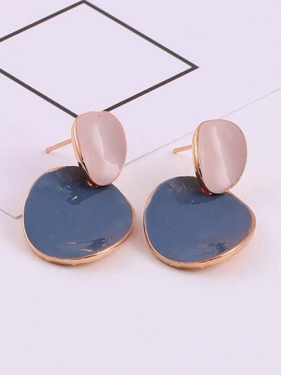 Irregular Shape Colorblock Golden Edge Stud Earrings - ازرق رمادي