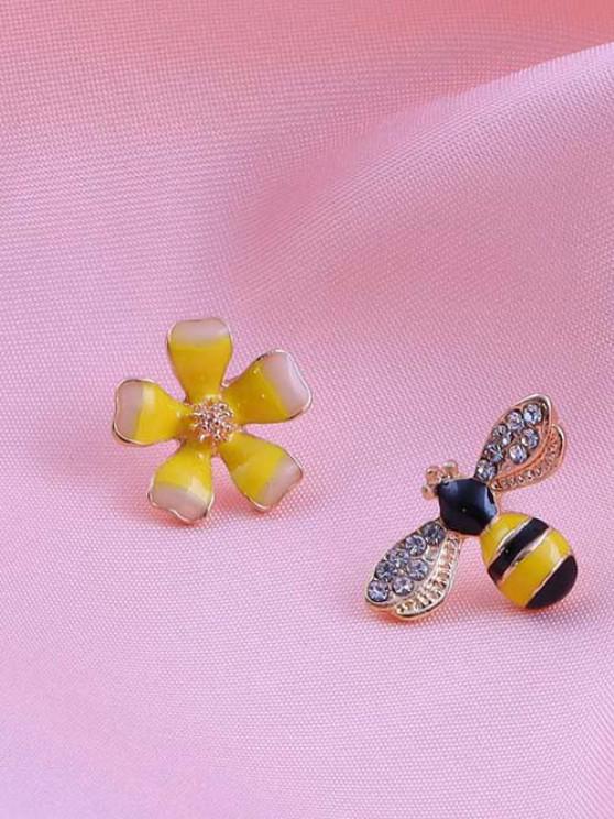 unique Flower Bee Rhinestone-Embellished Asymmetric Stud Earrings - GOLDEN