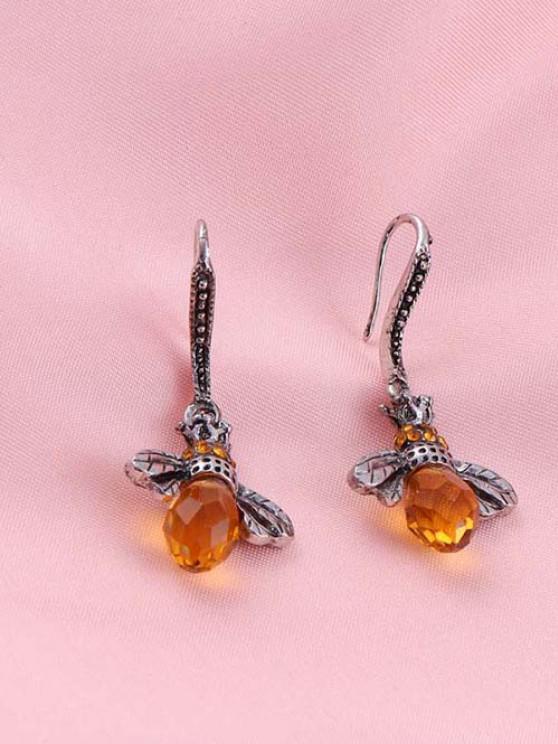 Engraved Bee-Shaped Rhinestone Hook Earrings - فضة