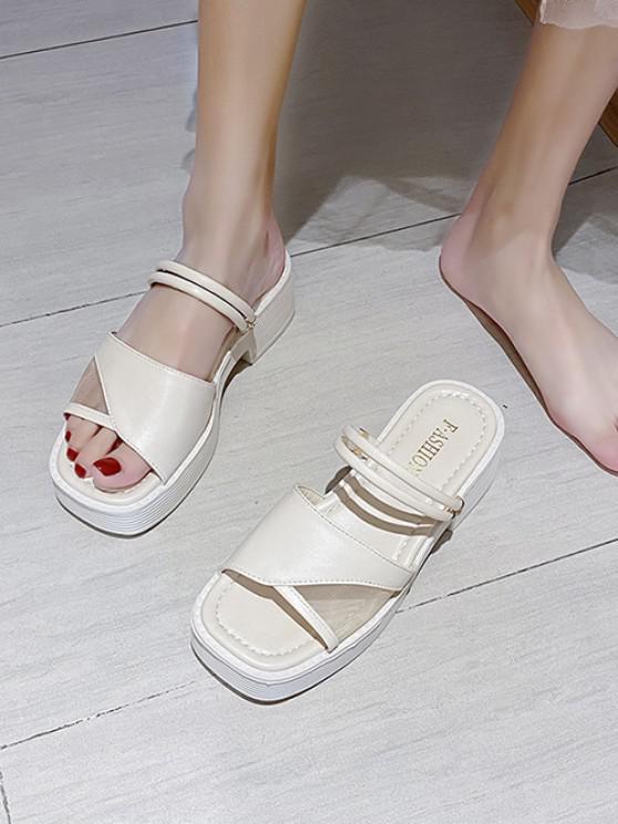 Zweiteilige Sandalen mit Maschen Einsatz - Warmweiß EU 37
