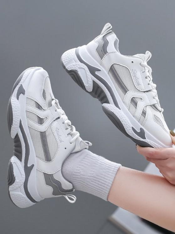 Colorblock Mesh Insert Clunky Sneakers - أبيض الاتحاد الأوروبي 37