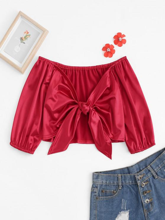 trendy Off Shoulder Sheeny Knotted Crop Top - RED S