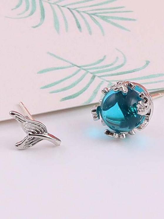 Glass Ball Tail-Shaped Asymmetric Stud Earrings - فضة