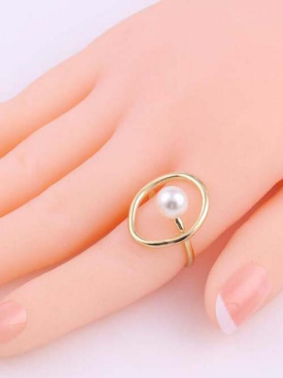 Künstliche Perle Geometrischer Großer Ring - Golden