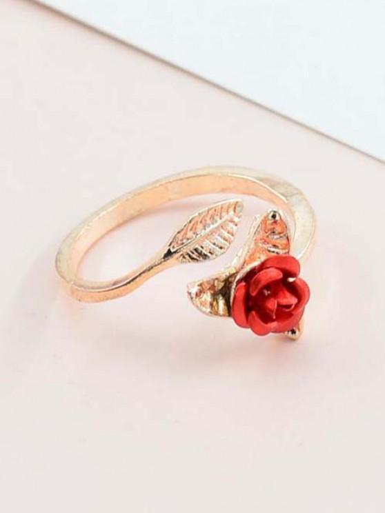 Rose Blatt Verstellbarer Ring - Roségold