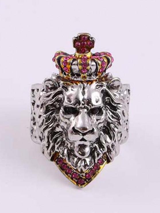 Rhinestone Crown Lion Head Chunky Open Ring - زهري